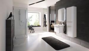 Biel, czerń i szarość w łazience