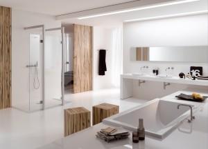 Nowoczesny salon kąpielowy w białym kolorze