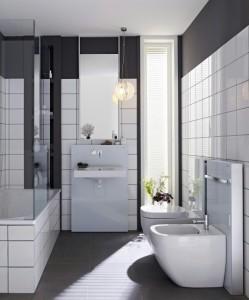 Rozstaw urządzeń sanitarnych w wąskiej łazience