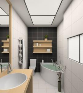 Stylowa aranżacja wąskiej łazienki