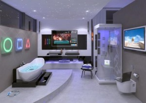 Gra świateł i nowoczesny aranż łazienki high-tech