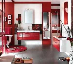 Łazienka w czerwonej kolorystyce
