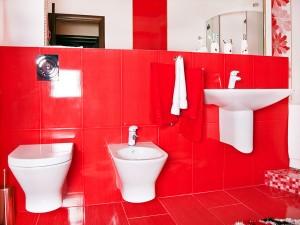 Biała ceramika na tle czerwonych płytek