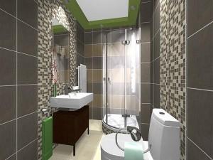 Mozaika na ścianach łazienki wprowadzona dla przełamania monotonii glazurniczej aranżacji