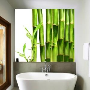 Fototapeta z bambusem nad umywalką