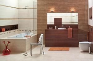 Klasyczna łazienka w różnych odcieniach brązu i beżu
