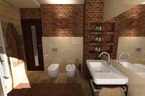 Nowoczesna mała łazienka w brązowym kolorze