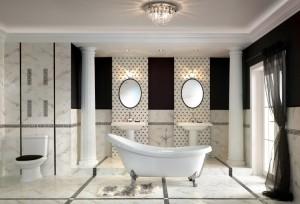 Łazienkowe płytki imitujące marmur