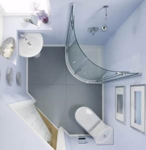 Mała łazienka w bloku widziana z góry