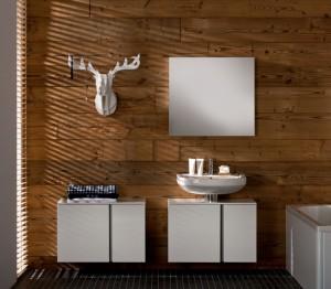 Drewno na ścianach w łazience