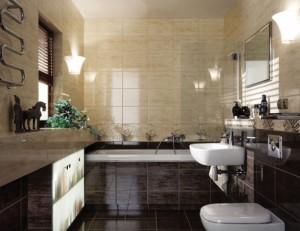Łazienka wykończona glazurą i terkotą