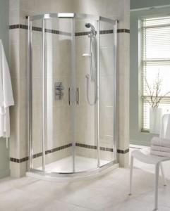 Półokrągła narożna kabina prysznicowa