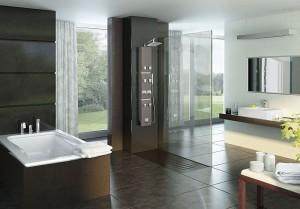 Nowoczesny model prostokątnego panelu prysznicowego