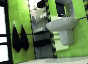 Seledynowo-czarna łazienka