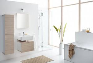 Ergonomiczne ustawienie wanny, umywalki i kabiny prysznicowej