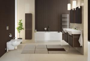 Beżowo-brązowa łazienka z wykorzystaniem serii KOŁO Varius