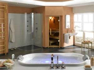 Sauna w nowoczesnym salonie kąpielowym usytuowana w pobliżu natrysku
