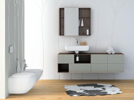 Łazienka urządzona z wykorzystaniem serii ceramiki i mebli Domino Premium