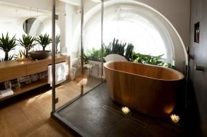 Rośliny doniczkowe w oknie łazienki