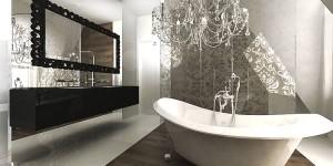Łazienka w stylu glamour z okazałym żyrandolem