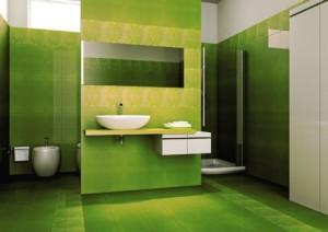 W zielonej łazience najlepiej sprawdzają się proste formy.