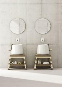 Przykład minimalistycznej łazienki inspirowanej folklorem