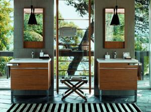 Meble łazienkowe stojące na nóżkach.