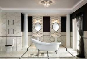 Łazienka w stylu vintage w kolorystyce czarno-białej