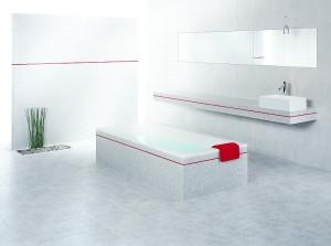 łazienka z czerwonym akcentem