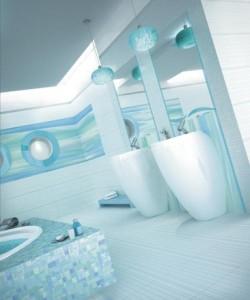 Niebieski w łazience
