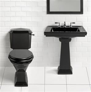 Czarna umywalka i sedes