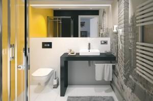 Nowoczesna łazienka w kolorze żółtym