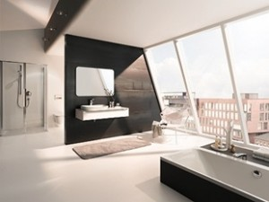 Duże okna w łazience