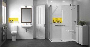 Żółte wstawki w łazience