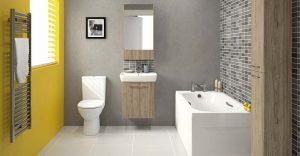 Zółta ściana w łazience