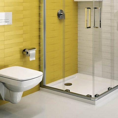 Ciekawa aranżacja żółtej łazienki