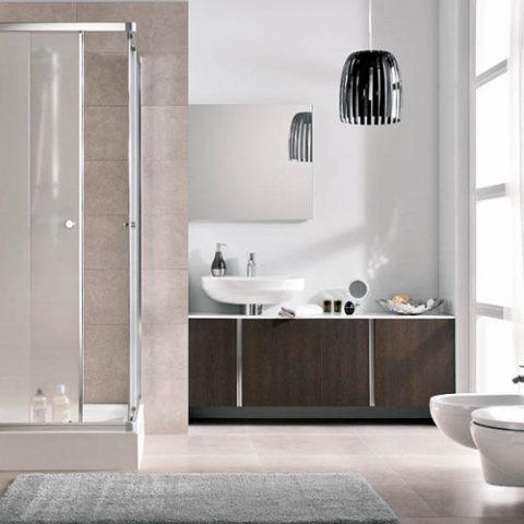 Beżowo-brązowa aranżacja łazienki